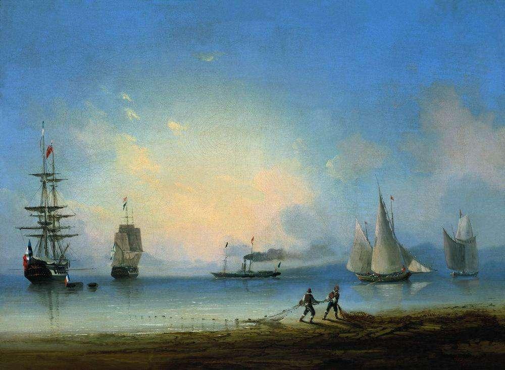Русский и французские фрегаты. 1858 - Айвазовский Иван Константинович
