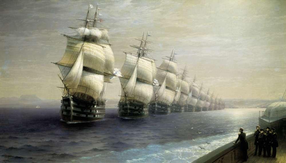Смотр Черноморского флота в 1849 году. Холст, масло. 131х249 см - Айвазовский Иван Константинович