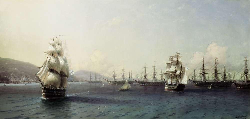 Черноморский флот в Феодосии. 1839. Холст, масло - Айвазовский Иван Константинович