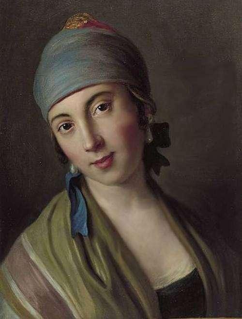 Портрет женщины с синим шарфом и