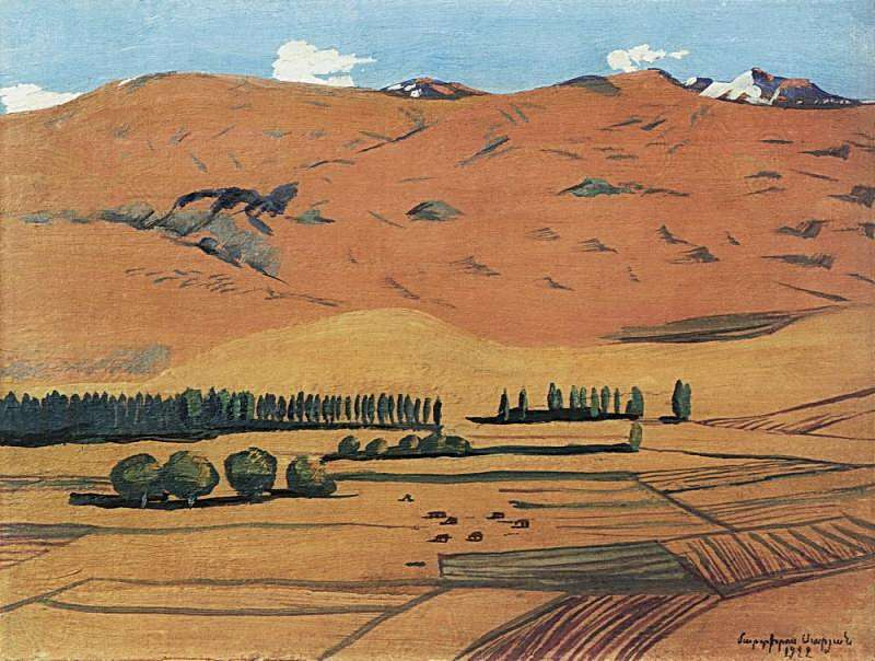 1922 Армения. Этюд. Х., м. 22х29 МС - Сарьян Мартирос Сергеевич