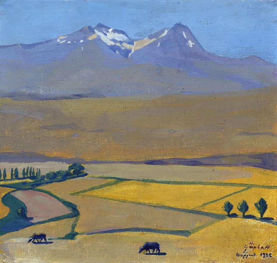 1922 Гора Арагац летом. Холст, масло. 26,5 x 28,5 МС - Сарьян Мартирос Сергеевич
