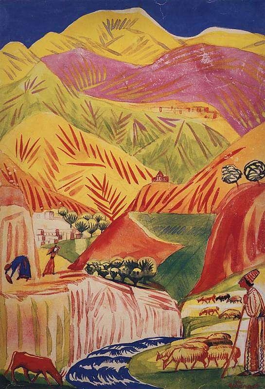 1933 Цветистый пейзаж. Акв. Форзац к сборнику