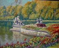 Lake and Gardens with Statuary Landscape, oil on canvas - Богданов-Бельский